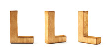 Set Of Three Block Wooden Letters Isolated