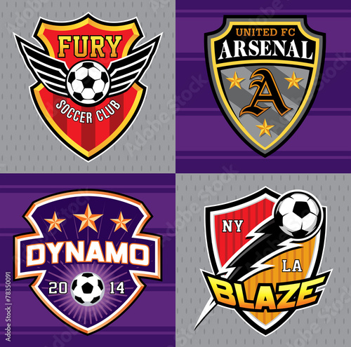 Fotografia, Obraz  Soccer club emblem patches