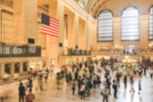 Crowded Grand Central Station At Rush Hour. Blurred Background.