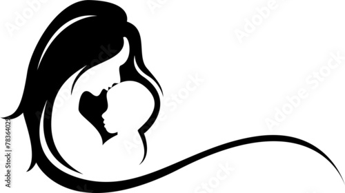 Fototapeta mother and baby silhouette obraz