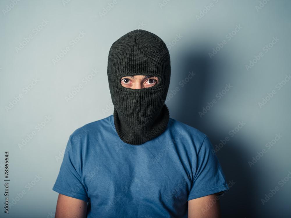 Fototapeta Scary man wearing a balaclava