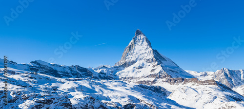 Panorama view of Matterhorn on a clear sunny day Wallpaper Mural