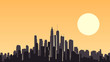 Abstract illustration of big city at sunset.