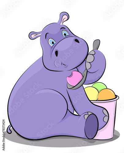 Poster de jardin Zoo Funny hippo eating ice cream