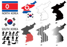 North And South Korea Vector Maps And Flags With War Theme