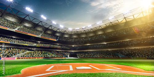 Photo  Professional baseball grand arena in sunlight