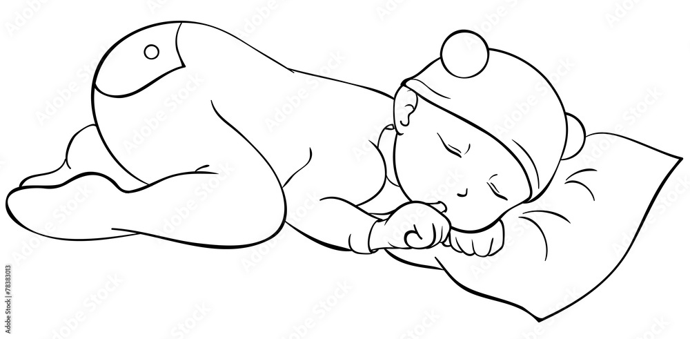 Schlafendes Baby Ausmalbild Stock Gamesageddon