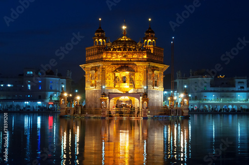 Obraz na plátně  Golden Temple at night. Amritsar. India