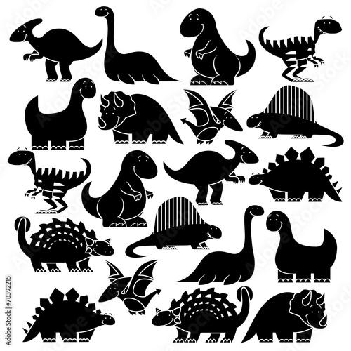 Set Of Different Cute Cartoon Dinosaurs Canvas Print