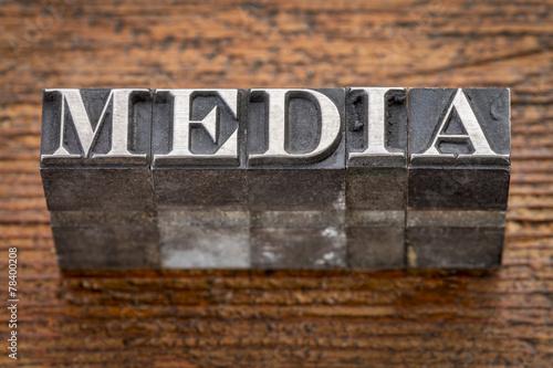 Fotografie, Obraz  media word in metal type