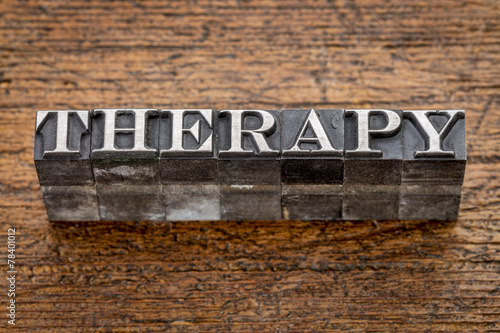 Fotografie, Obraz  therapy word in metal type
