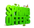 Leinwandbild Motiv Spring Offers Green 3D Word Isolated with Clipping Paths