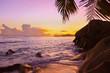 Sunset on beach Source D'Argent at Seychelles
