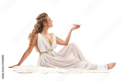 Obraz na plátně  Series: Classical Greek Goddess in Tunic Holding Bowl