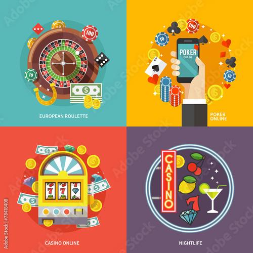 Colorful flat vector concept  composition.  European roulette Poster