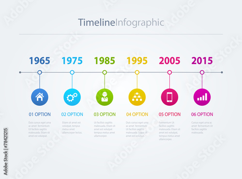 Valokuvatapetti Vector timeline Infographic with diagrams
