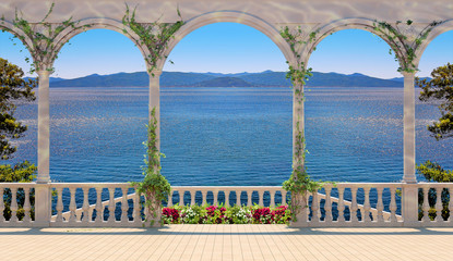 FototapetaTerrace with balustrade overlooking the sea and mountains