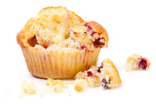 Cranberry Muffin On A White Ba...