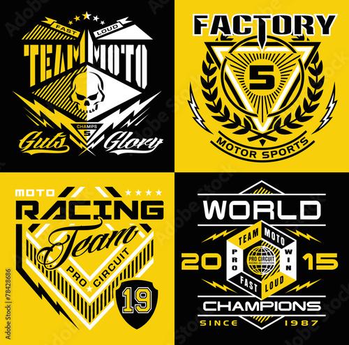 Photo  Motocross sport shield emblem set