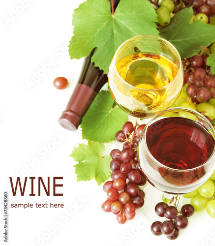 White, red and rosy wine and green grapes