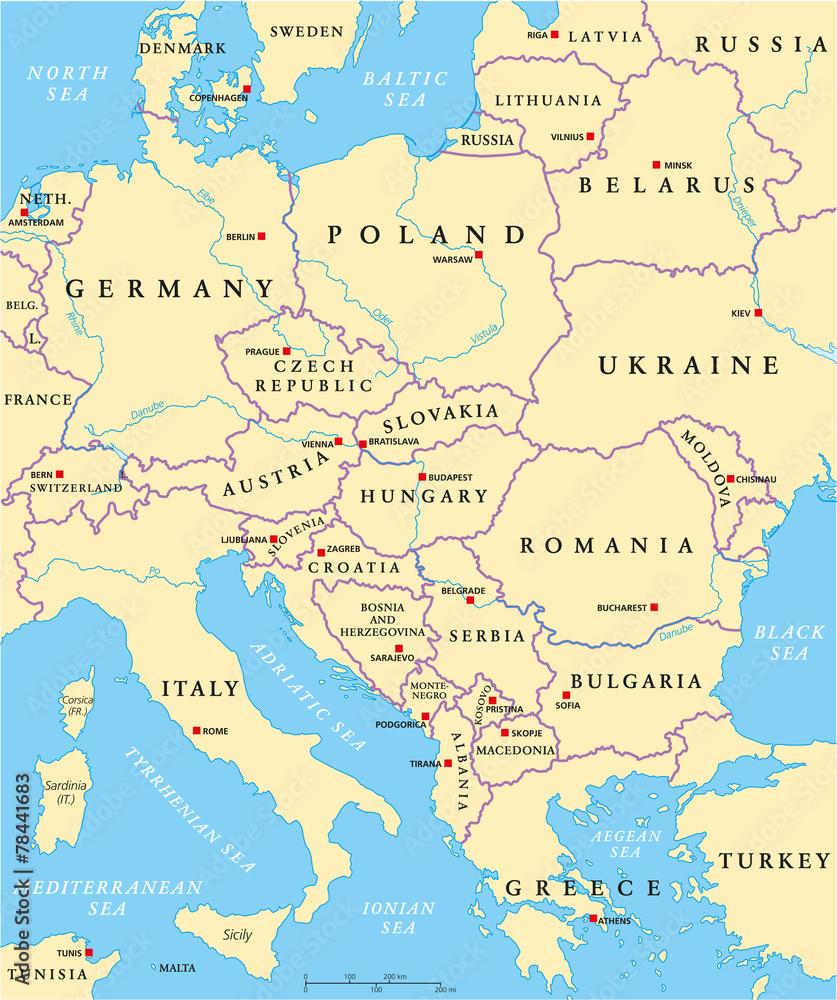 Fototapeta Na Szklo Polityczna Mapa Europy Srodkowej Wally24 Pl