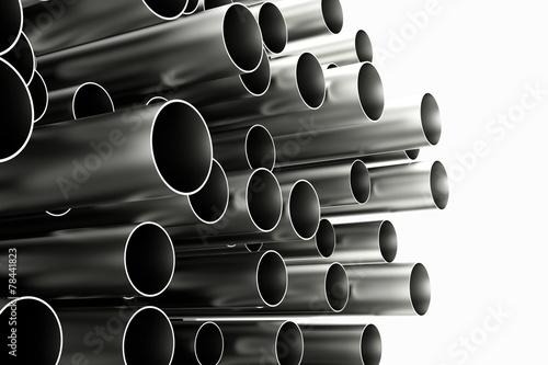 Fotografie, Obraz  Viele Röhren aus Chrom und Metall