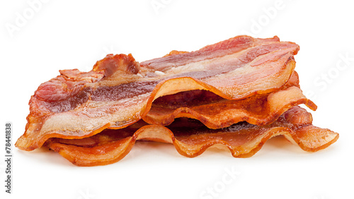 Grilled fresh bacon isolated on white background Canvas Print
