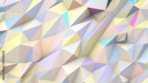 Fotografie, Obraz  Pastel abstract triangles poly colors geometric background