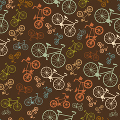 Fototapeta Vector seamless colorful retro vintage bicycle hipster