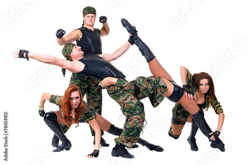 5676f373eeb8 military dancer team dressed in camouflage costumes - Buy this stock ...