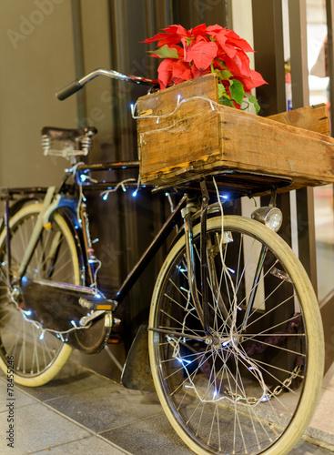 Fotobehang Fiets Retro bike on Christmas