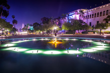 Pool And Buildings At Night In Balboa Park, San Diego, Californi
