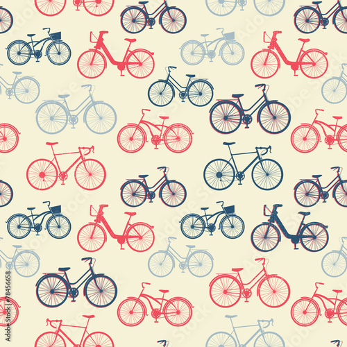 Plakát  Seamless pattern with vintage bicycles