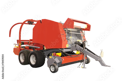 Photo Agricultural round baler  isolated under the white background