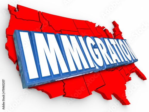 Valokuva  Immigration 3d Word USA United States Map Reforming Legal Reside