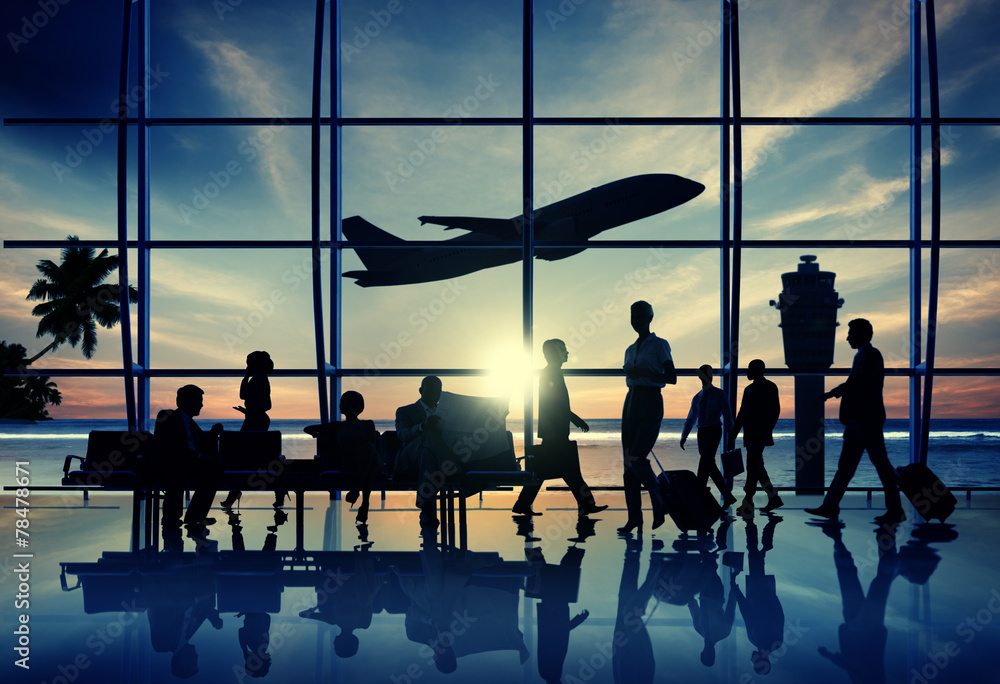 Fototapeta Back Lit Business People Traveling Airplane Airport Concept