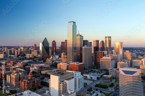 In de dag Texas Dallas, Texas cityscape