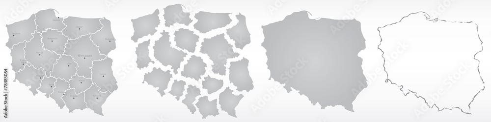 Fototapety, obrazy: polska, mapa, kontur, województwa