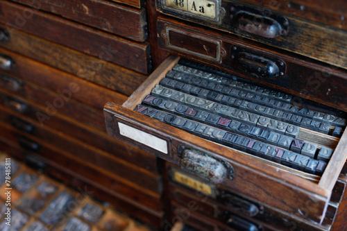 Fotografie, Obraz  Metal printing press letters
