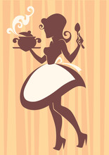Home Made Cooking In Retro Style, Vector Commercial Illustration