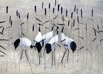 Fototapetafamily of cranes