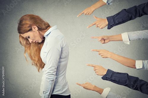 Photo Concept of accusation guilty unhappy businesswoman person