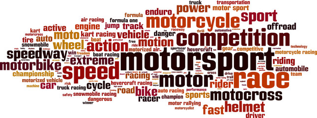 Panel Szklany Środki transportu Motorsport word cloud concept. Vector illustration