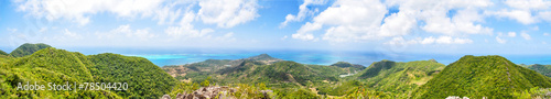Panorama, huge panoramic view of Providencia Island of Colombia.