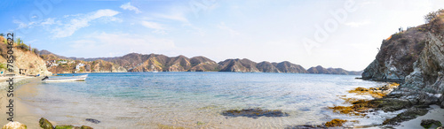 Huge Panoramic View of Taganga Mountains and Sea at Colombia. Tr