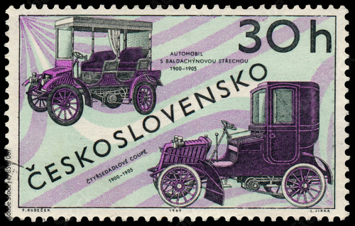 Fotografija  Stamp printed in Czechoslovakia shows old cars