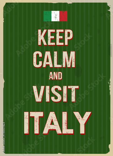 Papiers peints Affiche vintage Keep calm and visit Italy retro poster
