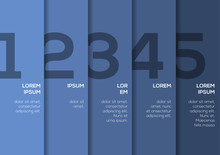 Background With 5 Blue Vertical Stripes With Numbers