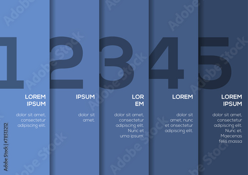 Photographie  Background with 5 blue vertical stripes with numbers