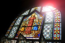 Stained Glass Window Depicting Biblical Scene